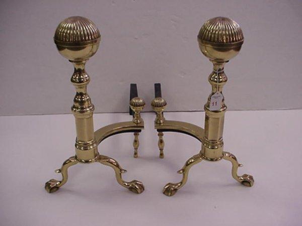 11: Brass Ball Top Andirons: