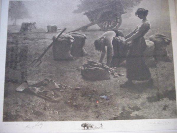 15: J.E. DE LOS RIOS Steel Engraving The Gleaners: