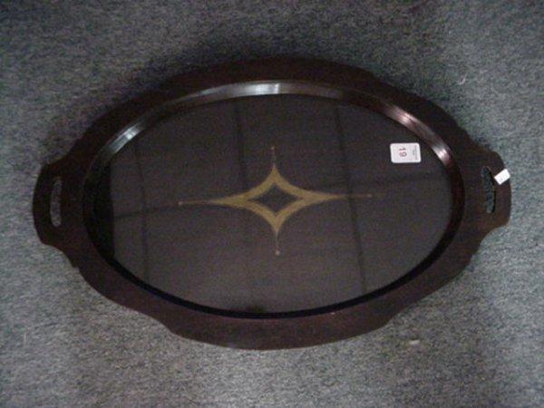 19: Oval Double Handled Mahogany Serving Tray: