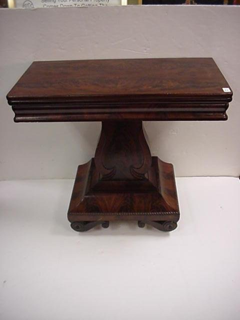 23: Flame Mahogany Empire Fold Over Game Table: