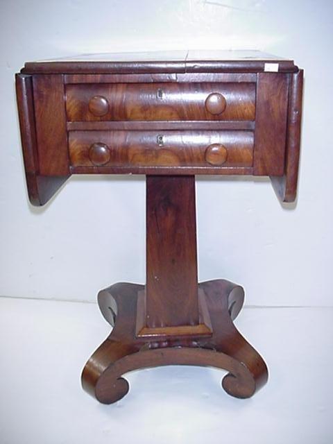 24: 2 Drawer Mahogany Empire Drop Side Sewing Table: