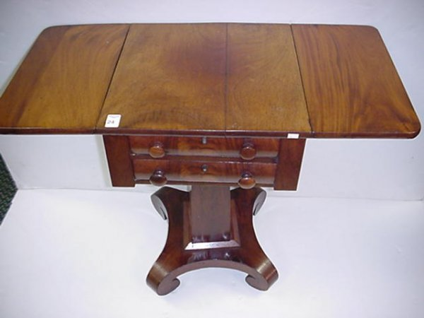 24: 2 Drawer Mahogany Empire Drop Side Sewing Table: - 2