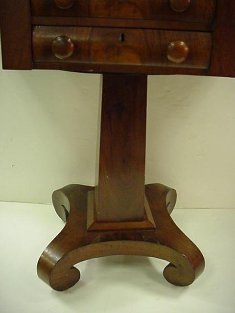 24: 2 Drawer Mahogany Empire Drop Side Sewing Table: - 3