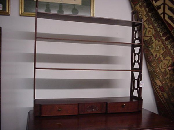 141: 3 Tier Shell Carved 3 Drawer Wall Shelf: