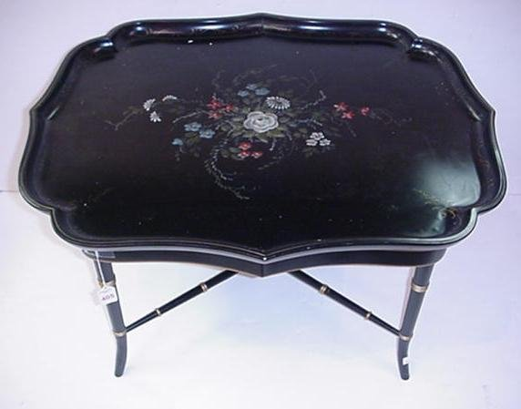 405: Black Lacquer Tole Painted Tray Top Table: