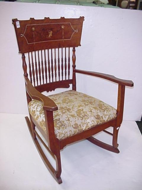 407: Putti Musician Inlaid Spindle Back Rocking Chair: