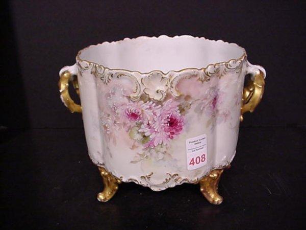 408: Limoges Porcelain Hand Painted Gilt Edge Planter: