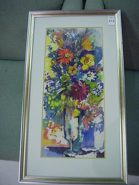 412: Hand Signed BETTY ANGLIN Floral Watercolor: