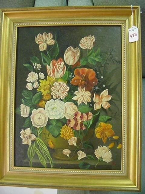 413: 19th C. Signed J.L.J. Oil on Canvas Floral Stillif
