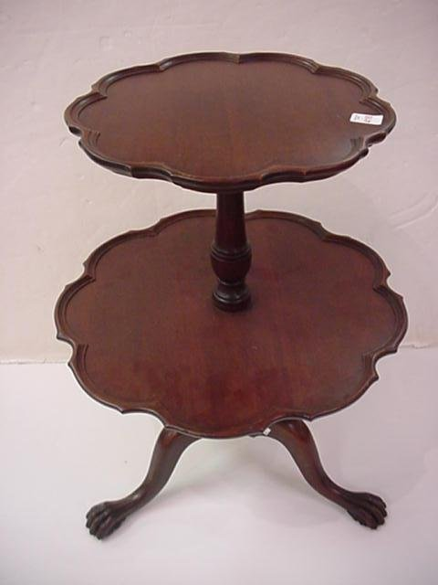416: 2 Tier Mahogany Muffin Table: