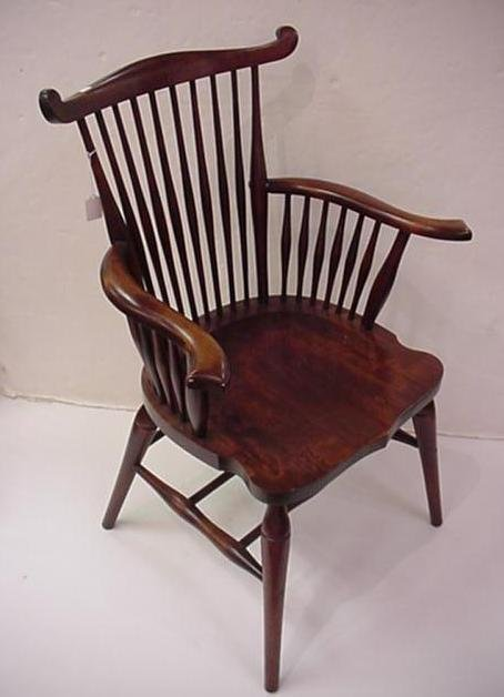 417: Mahogany Windsor Spindle Back Chair: