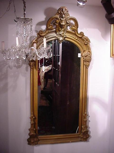 418: 19th C. Grape and Figurehead Gold Frame Mirror: