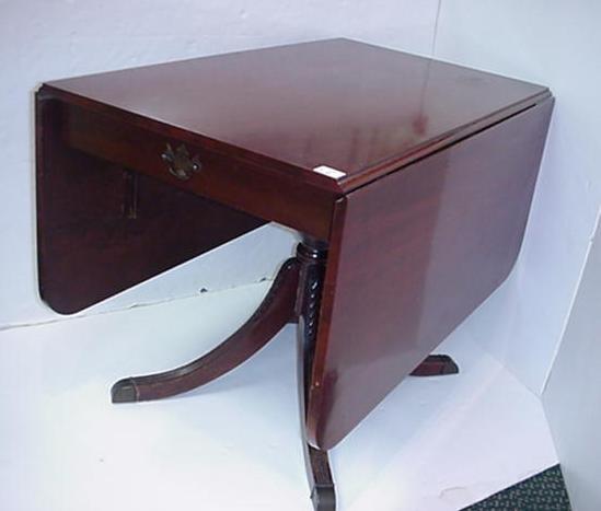 419: Mahogany Single Drawer Drop Leaf Table: