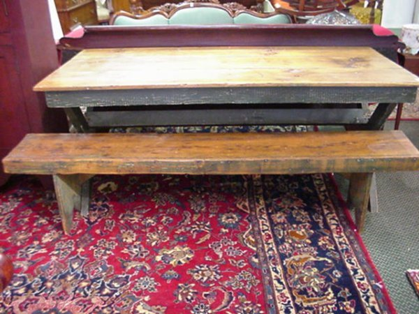 423: Early Plank Top Harvest Table with Bench: