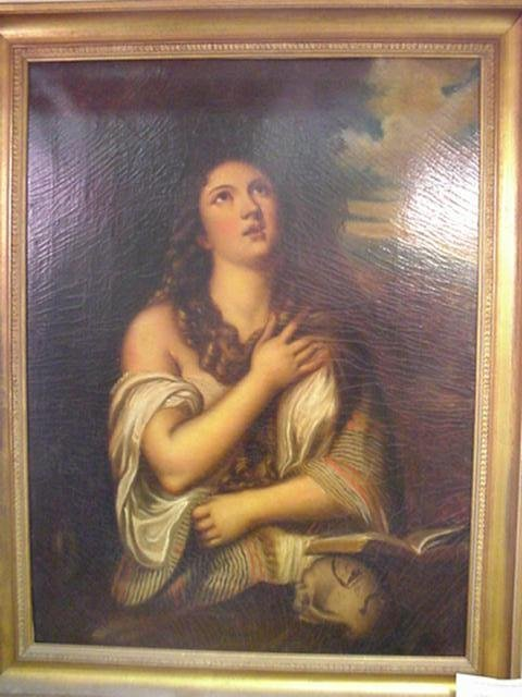 760: Penitent Magdalene Oil on Canvas in Style of Titia