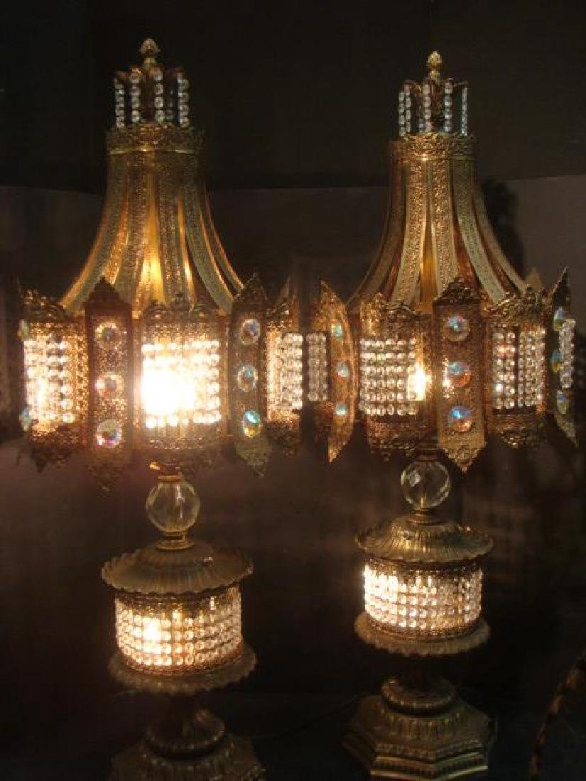 Pair of Hollywood Regency Jeweled Table Lamps: