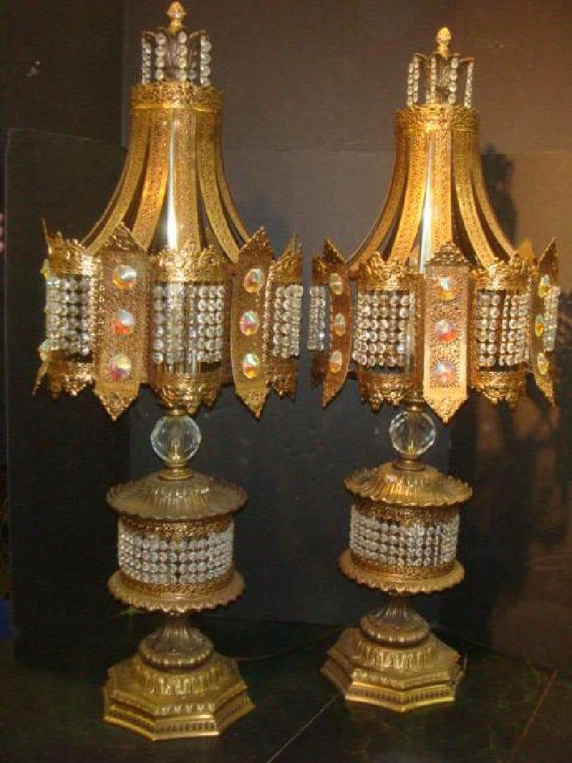 Pair of Hollywood Regency Jeweled Table Lamps: - 4