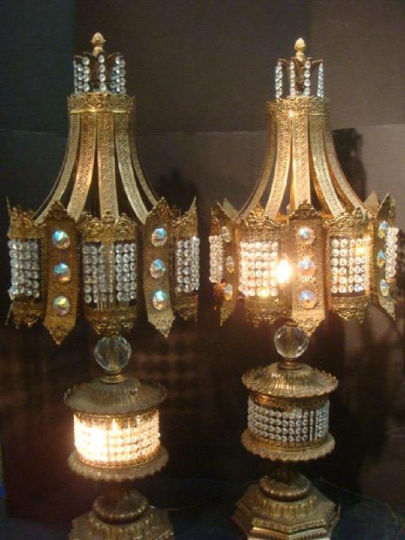 Pair of Hollywood Regency Jeweled Table Lamps: - 5