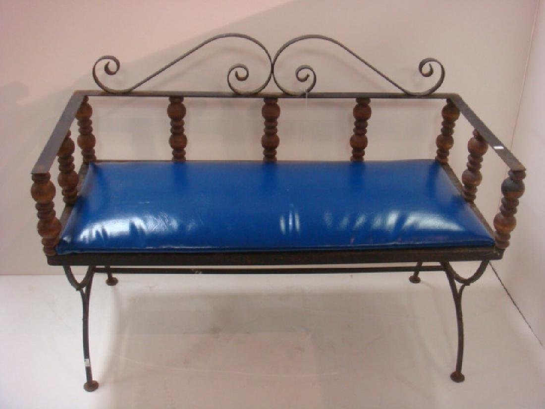 Fancy Wrought Iron Bench with Cobalt Blue Vinyl Seat: