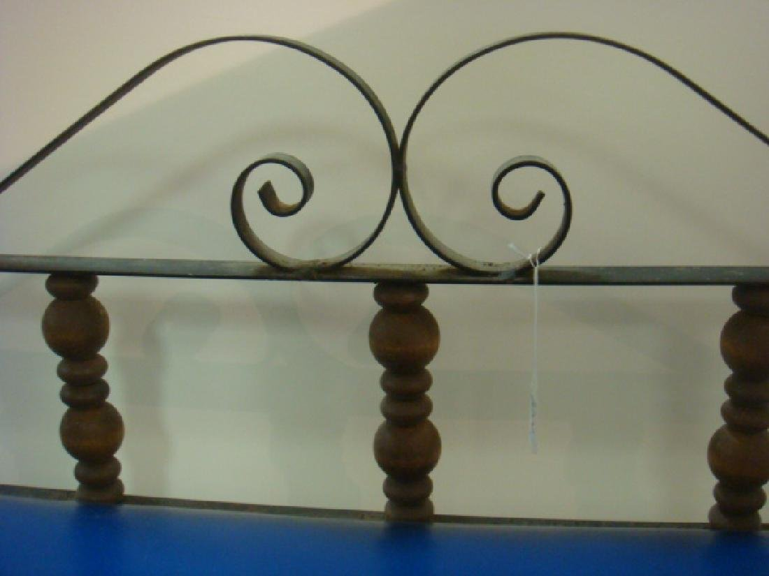 Fancy Wrought Iron Bench with Cobalt Blue Vinyl Seat: - 3