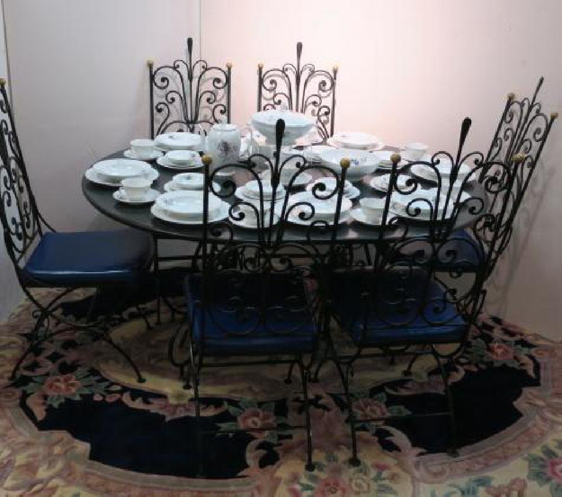 Wrought Iron Metal Base Table and Six Chairs: