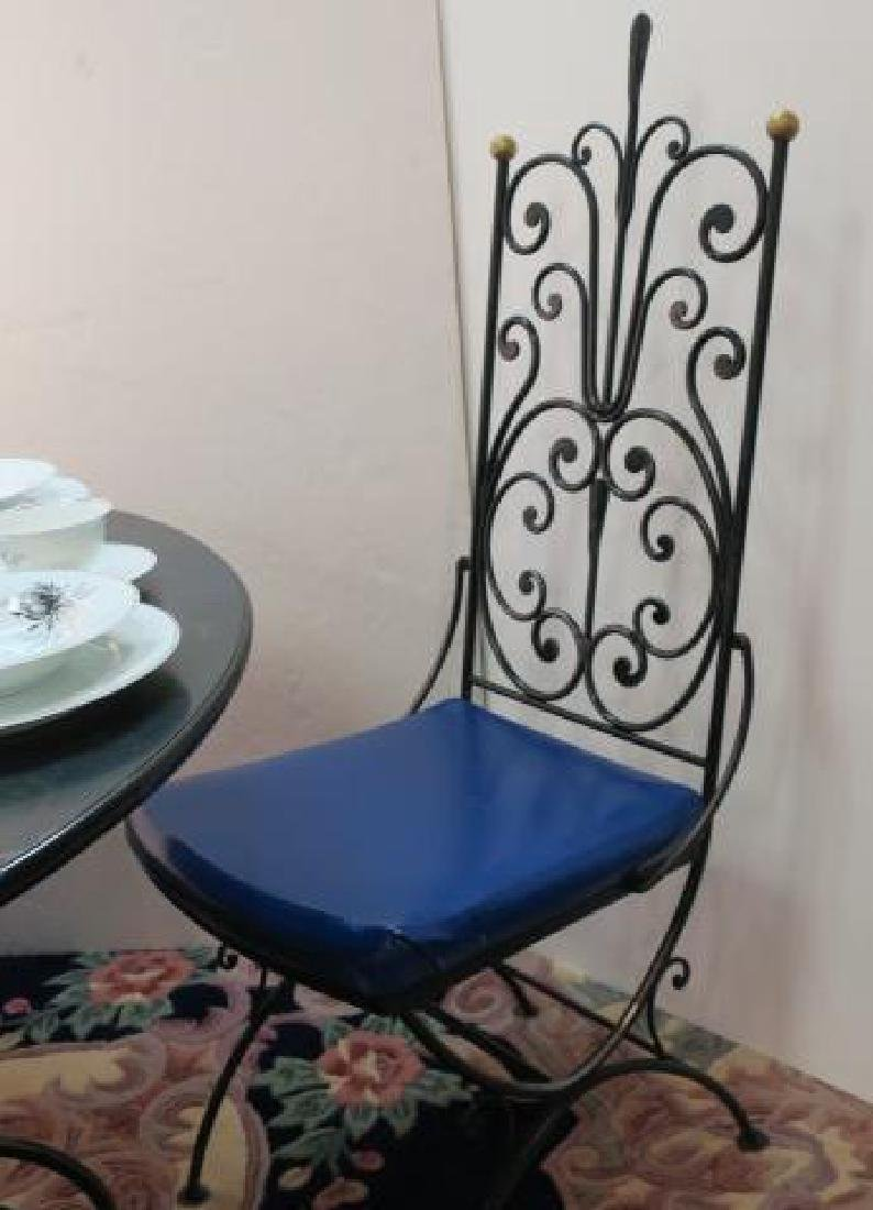 Wrought Iron Metal Base Table and Six Chairs: - 2