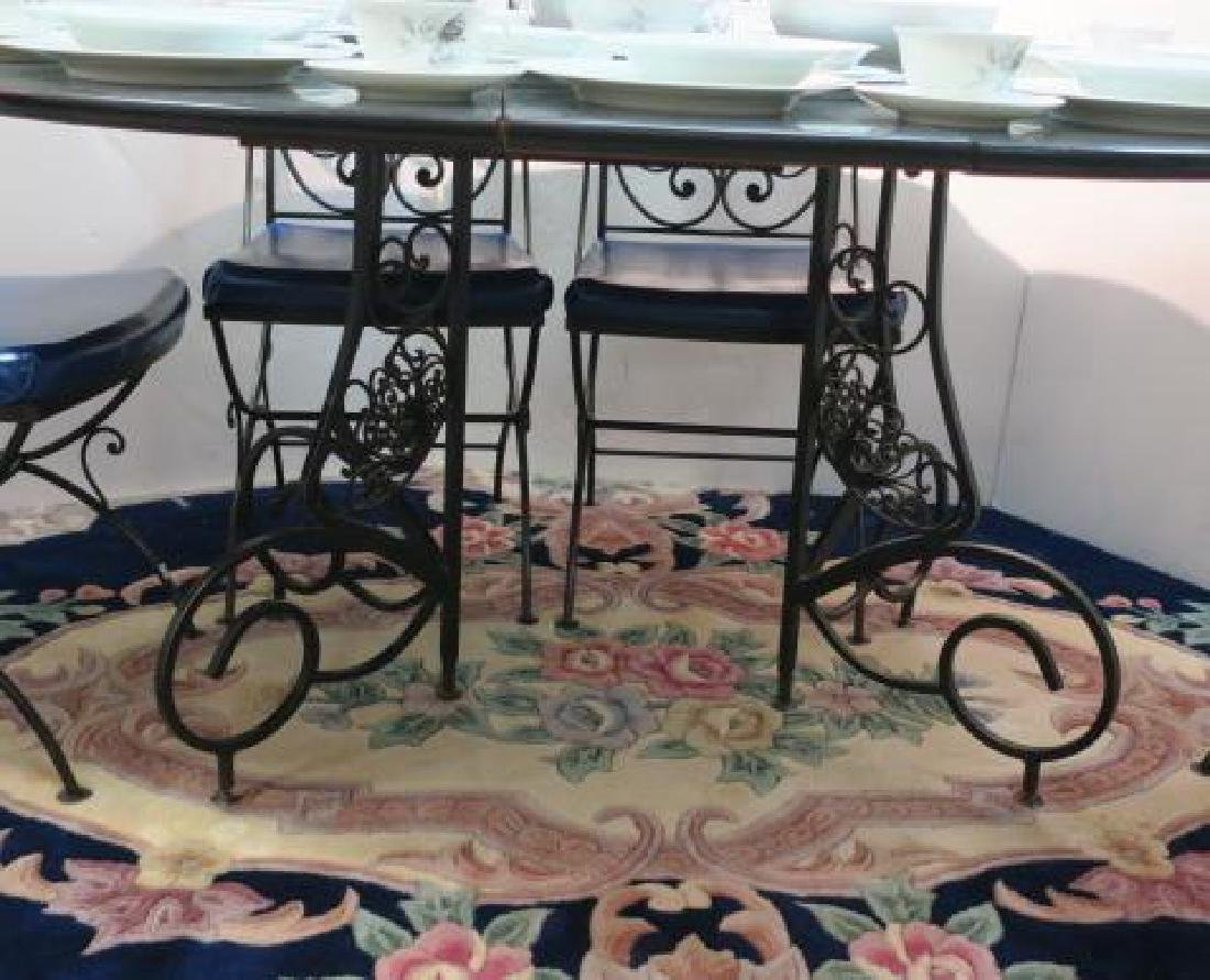 Wrought Iron Metal Base Table and Six Chairs: - 3