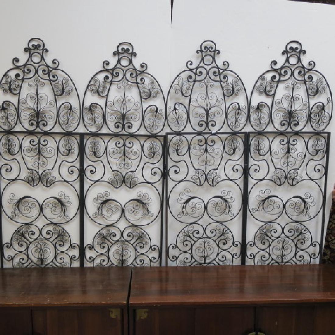 Wrought Iron Four Panel Folding Screen: