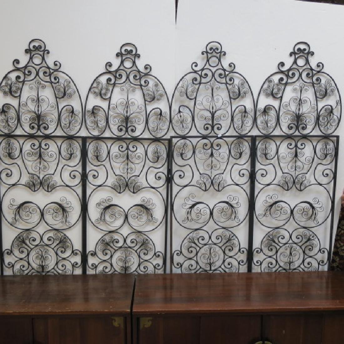 Wrought Iron Four Panel Folding Screen: