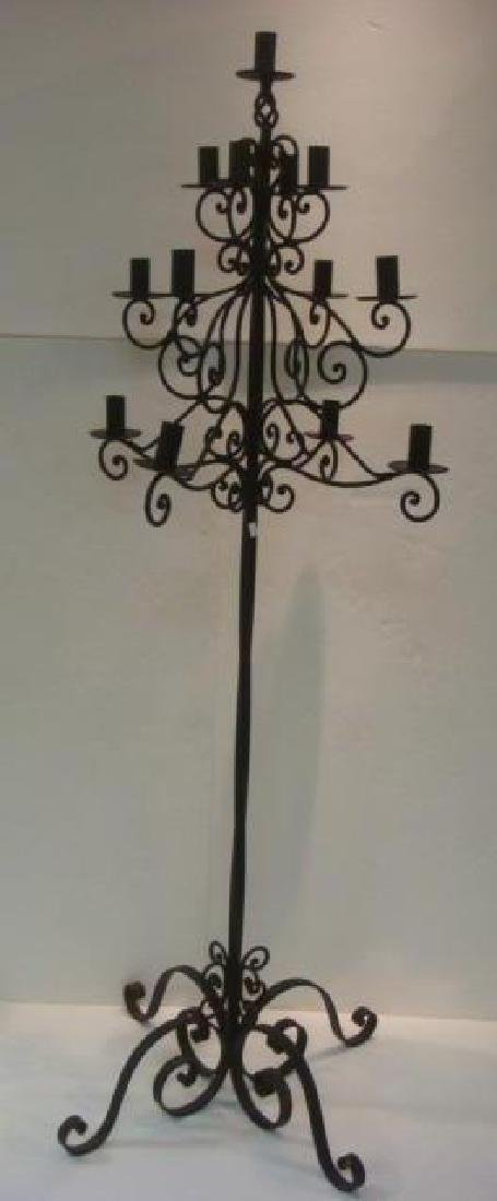 Black Wrought Iron Floor Candle Stand: