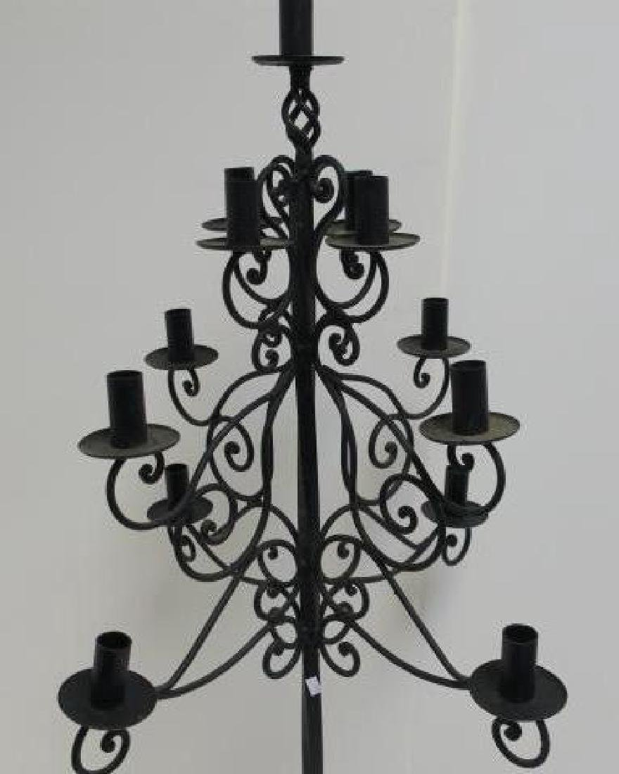 Black Wrought Iron Floor Candle Stand: - 2