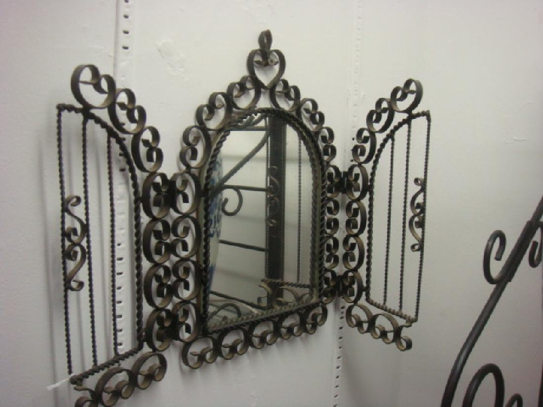 Three Pieces of Wrought Iron Wall Decor: - 2