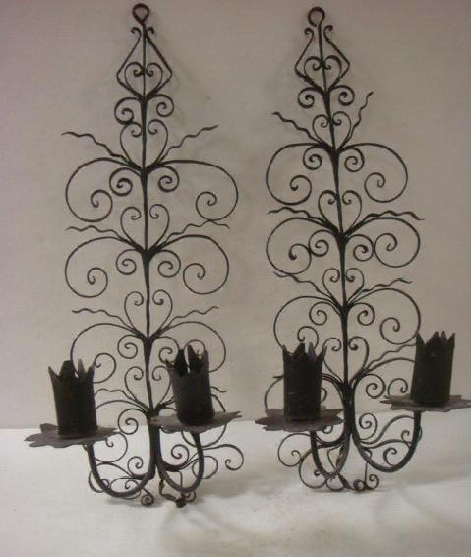 Three Pieces of Wrought Iron Wall Decor: - 3