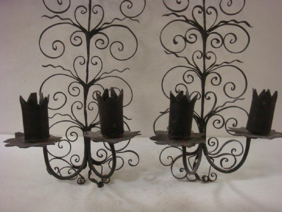 Three Pieces of Wrought Iron Wall Decor: - 4