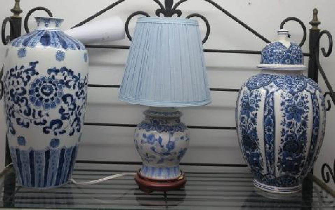 Blue and White Ceramic Jar, Vase and Lamp: