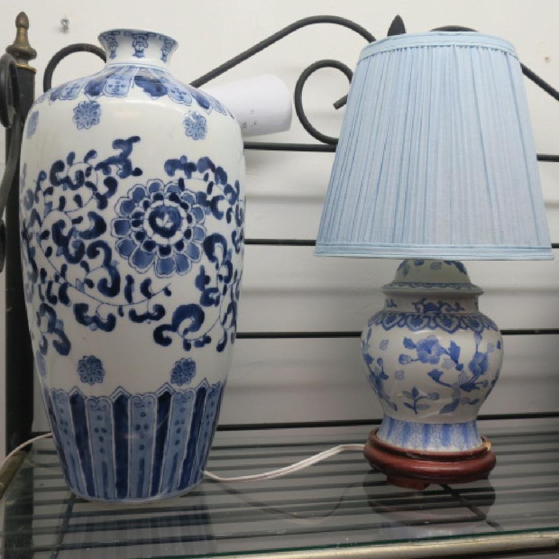 Blue and White Ceramic Jar, Vase and Lamp: - 2