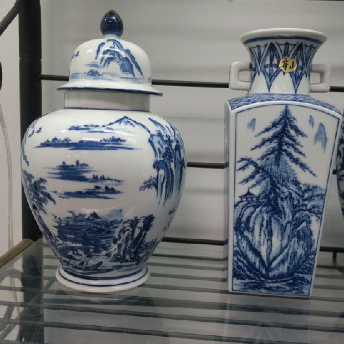 Four Blue and White Ceramic Vases and Jars: - 2