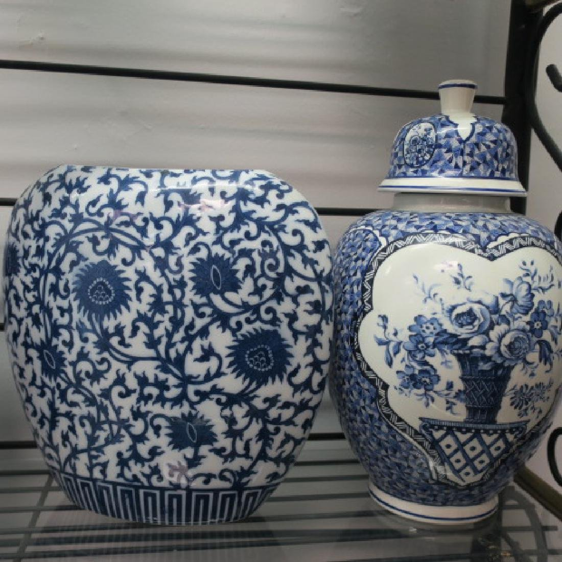Four Blue and White Ceramic Vases and Jars: - 3