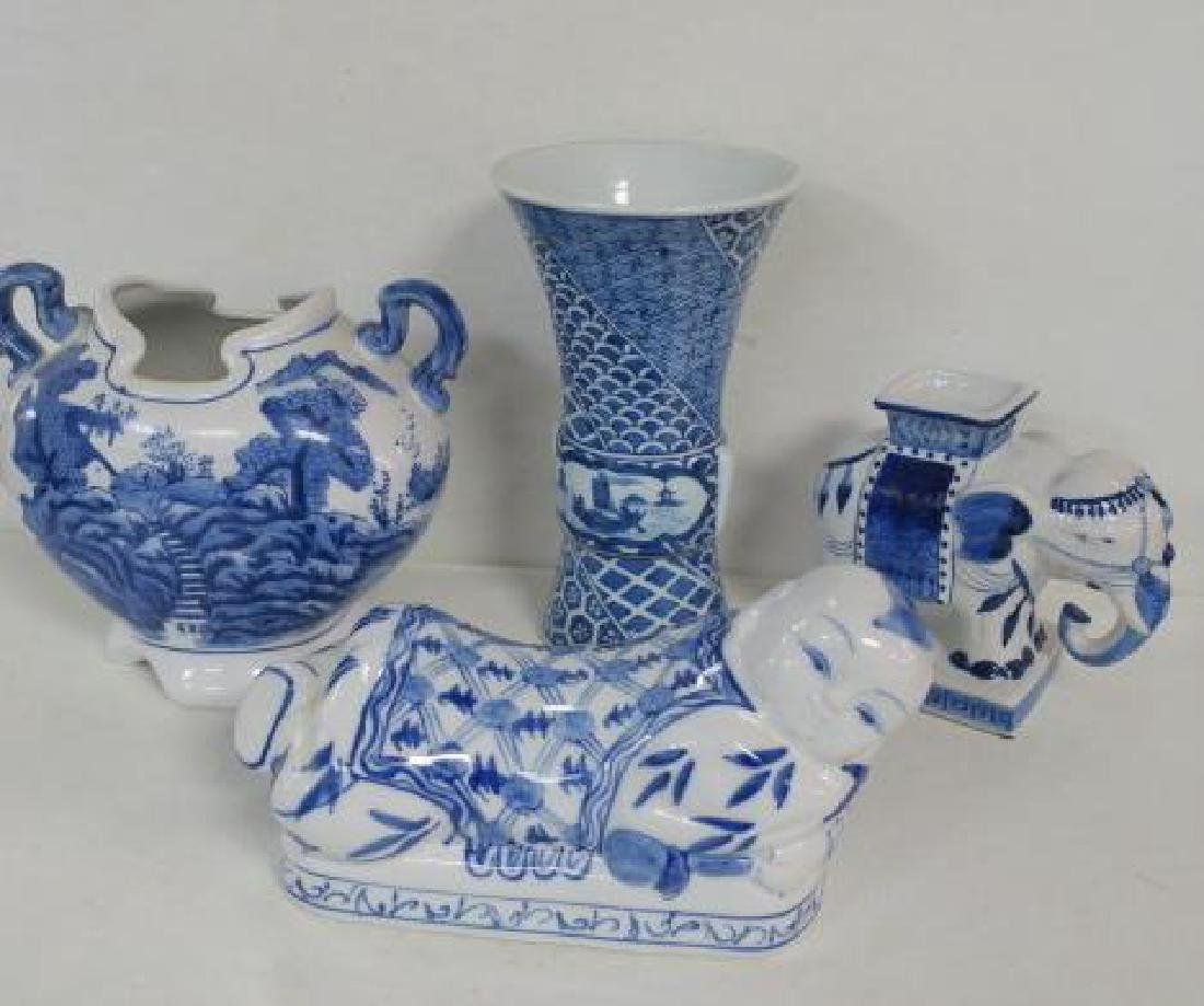 Blue and White Vases and Opium Pillow: