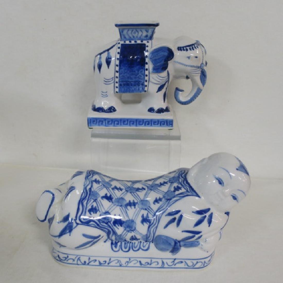 Blue and White Vases and Opium Pillow: - 3
