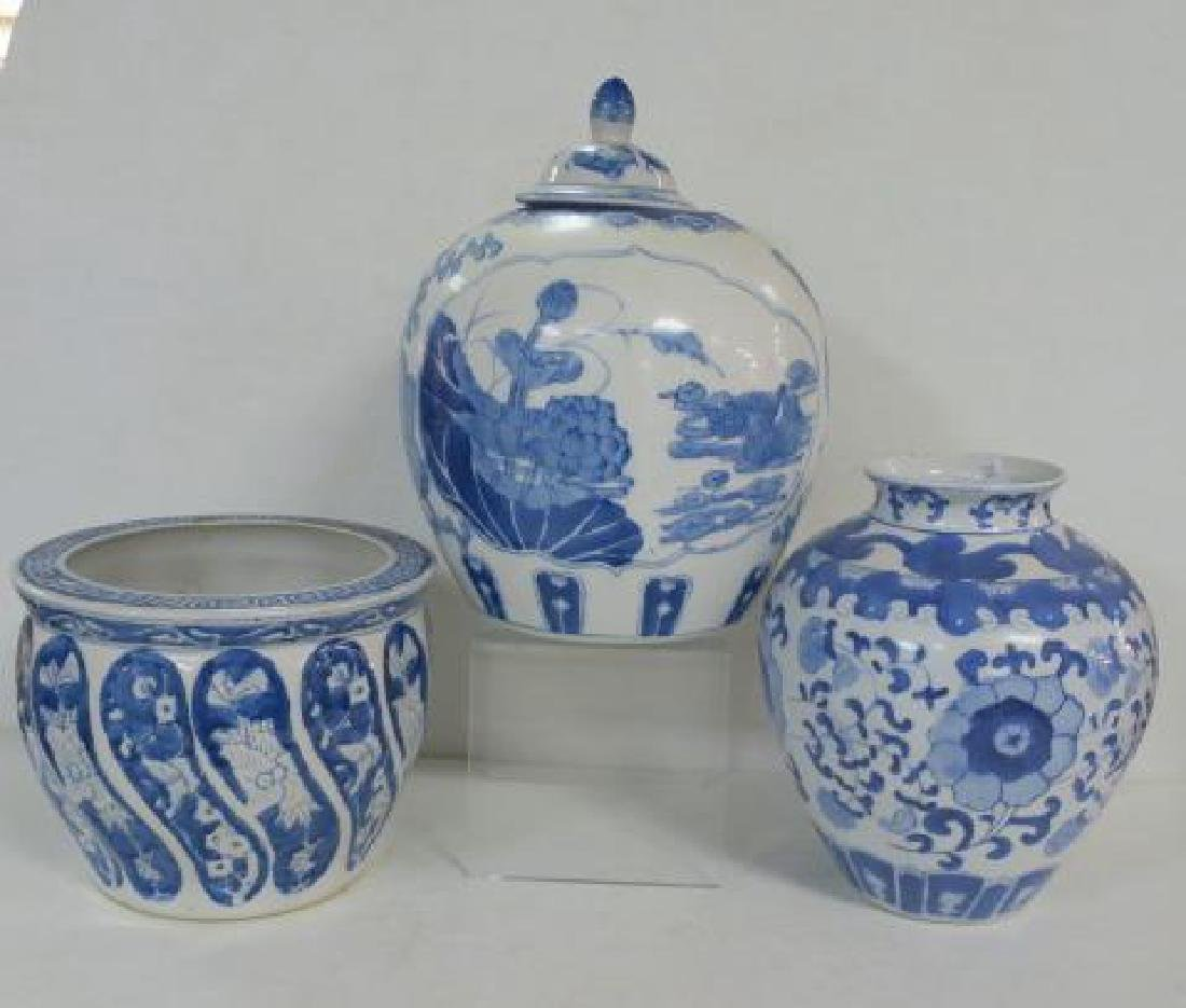 Blue and White Ceramic Jar, Planter and Vase: