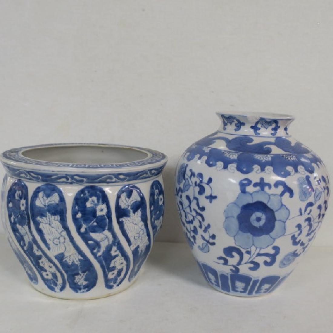 Blue and White Ceramic Jar, Planter and Vase: - 3