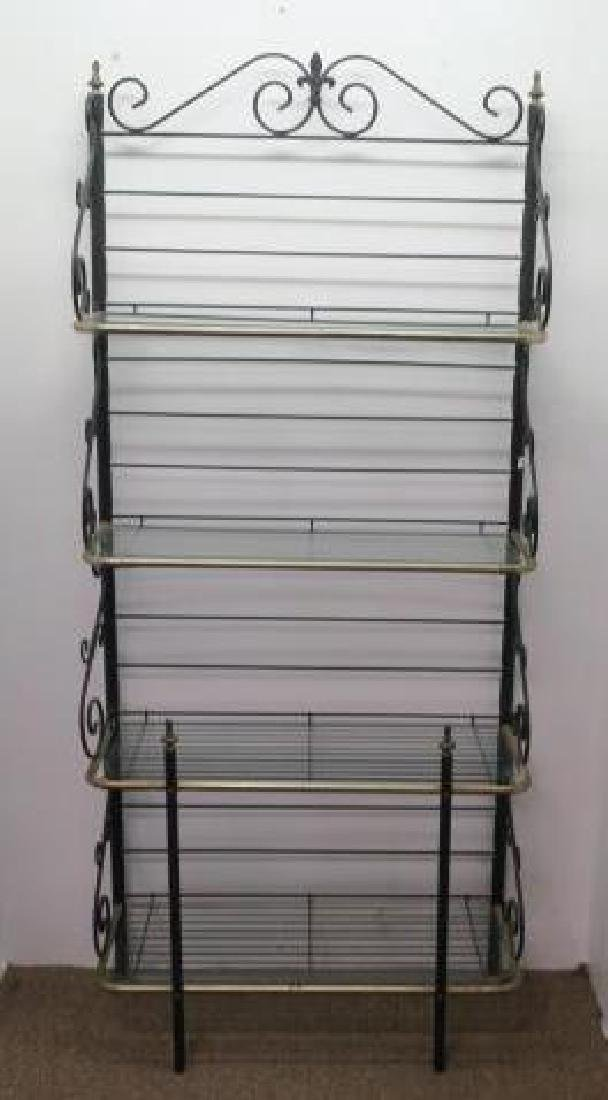 Scrolled Black Wrought Iron Bakers Rack: