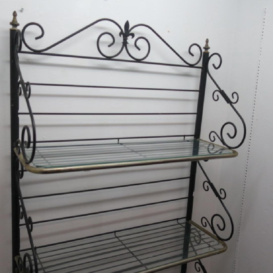Scrolled Black Wrought Iron Bakers Rack: - 2
