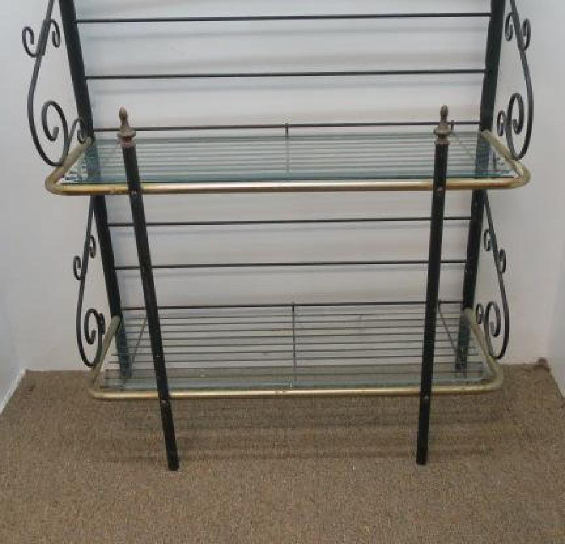 Scrolled Black Wrought Iron Bakers Rack: - 3