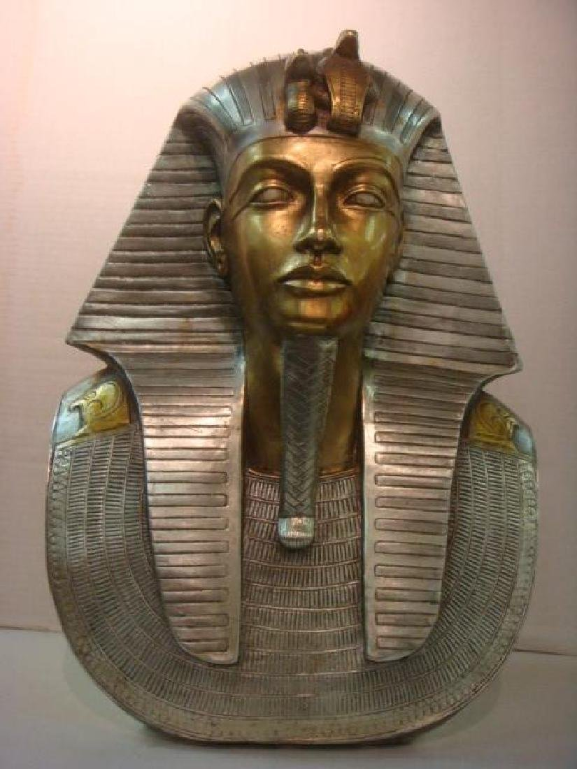 Life Size Bust King Tut in Silver and Gold: