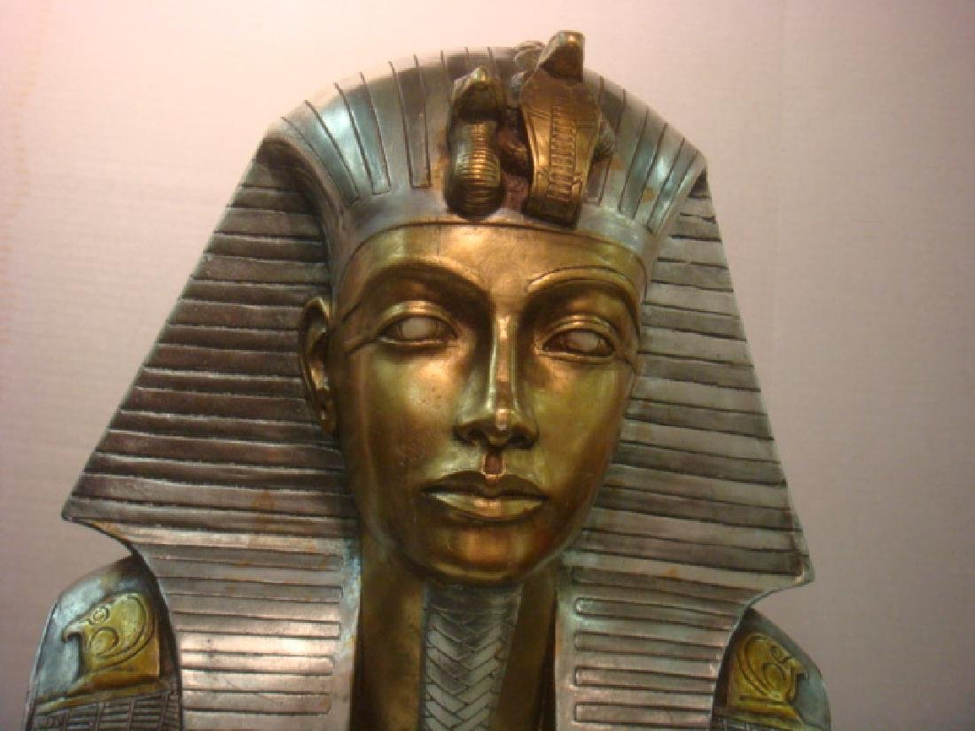 Life Size Bust King Tut in Silver and Gold: - 2