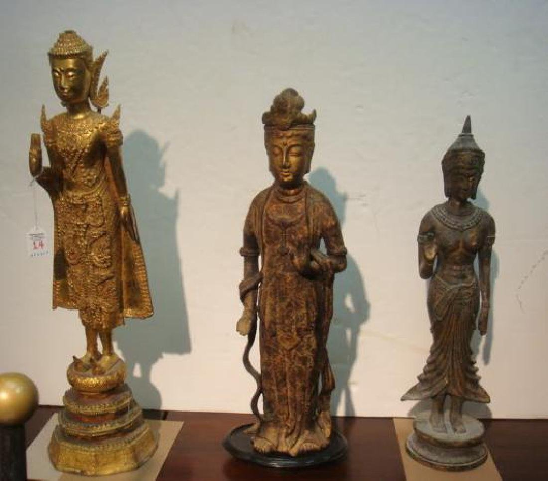 Three Tibetan and Chinese Goddess Statues:
