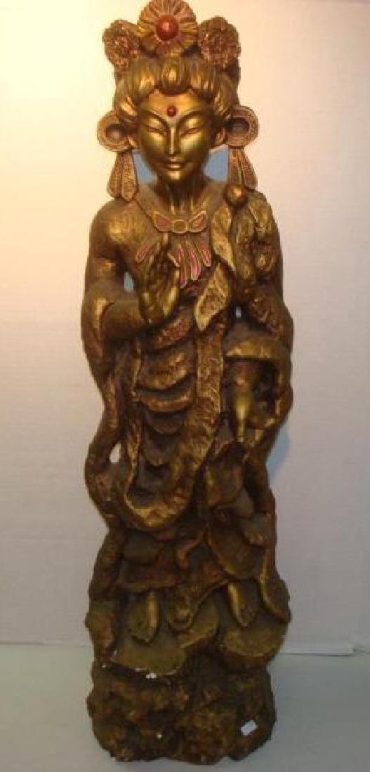 Bodhisattva Guanyin Gilt Statue: