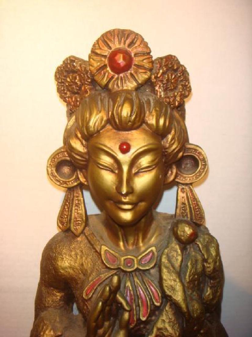 Bodhisattva Guanyin Gilt Statue: - 2